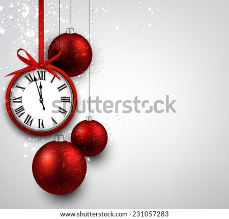 New year background with red christmas balls and vintage clock. Vector illustration.  - stock vector