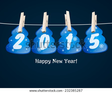 New Year 2015 blue cards in the form of Christmas trees background. vector - stock vector