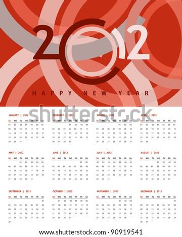New year 2012 Calendar and conceptual banner for new year. - stock vector