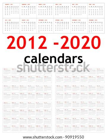 New year 2012, 2013,  2014,  2015,  2016,  2017,  2018,  2019,  2020 Calendars - stock vector