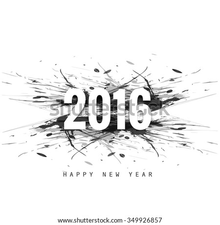 New year 2016 card in grunge style vector - stock vector