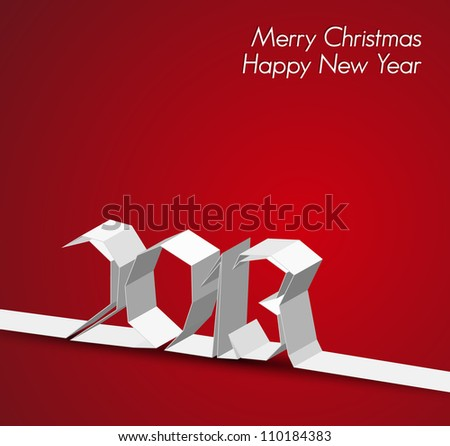 New Year 2013 card made from paper stripe, red vector illustration - stock vector