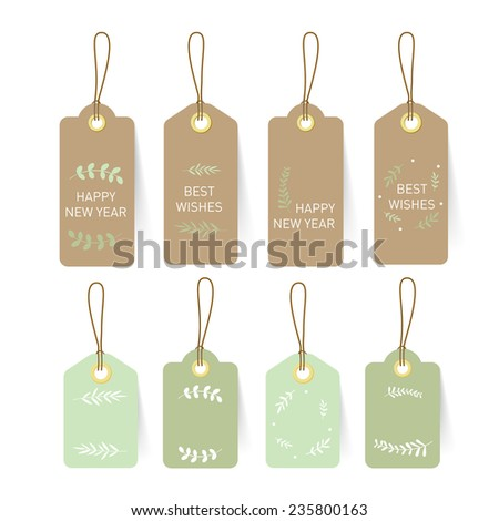 New year card Tag and Label on paper with nature element and text design - stock vector
