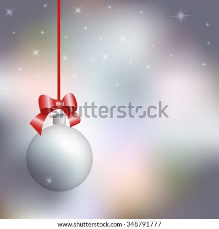 New Year card, transparent Christmas ball against the background of the winter sky, vector illustration - stock vector
