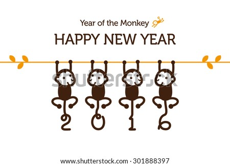 New Year card with Monkey for year 2016 - stock vector