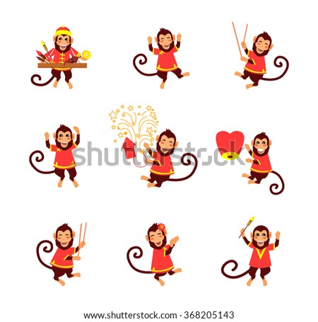 New Year card with monkey. Happy Chinese New Year 2016. New Year monkey. Chinese zodiac monkey. Year of monkey 2016. Chinese New Year greetings. Monkeys in traditional Chinese background. Year Monkey - stock vector