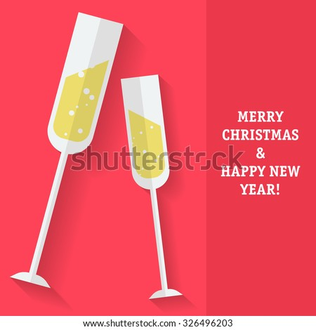 New Year card with the the sparkling wine glasses. Fully editable vector illustration perfect for new year and christmas business and family greeting cards.   - stock vector
