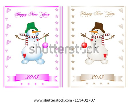"""New Year cards with """"snowman in pink"""" and """"snowman in beige"""" - stock vector"""
