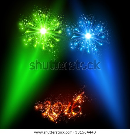 New Year 2016 celebration cover easy all editable - stock vector