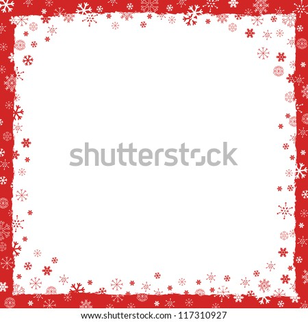 New Year (Christmas) background with snowflakes border and grunge elements - stock vector