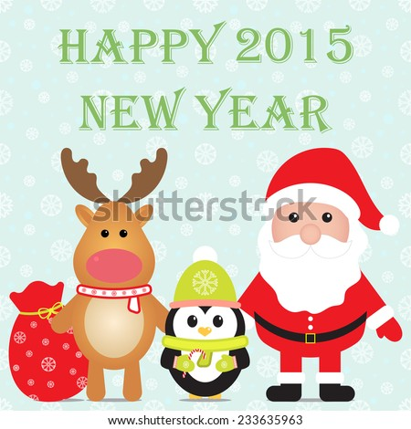 New Year 2015. Christmas card with Santa Claus, Penguin and reindeer. Seamless winter background with snowflakes. Vector image. - stock vector