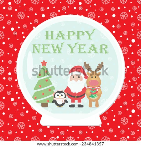 New Year 2015. Christmas card with Santa Claus, Penguin, Reindeer  Christmas tree in Snow globe. Seamless winter background with snowflakes. Vector image.  - stock vector