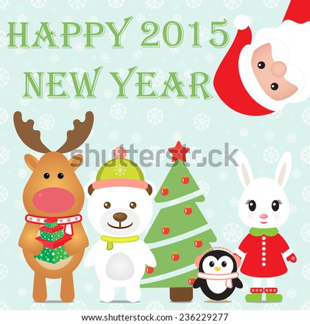 New Year 2015. Christmas card with Santa Claus, Penguin, White Bear, Rabbit, Reindeer and Christmas tree. Seamless winter background with snowflakes. Vector image. - stock vector