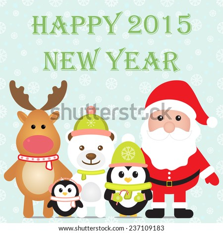 New Year 2015. Christmas card with Santa Claus, Penguins, White Bear, Reindeer. Seamless winter background with snowflakes. Vector image.  - stock vector