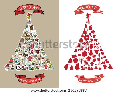 New year, Christmas colored greeting card.Many different decorative elements for winter holidays  in spurce tree  shape. Trendy flat style.Doodle sketch in  style of  child's hand drawing. Vector - stock vector