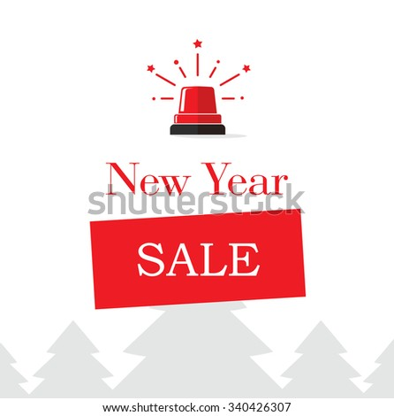 New Year Christmas sale badge design template. Flat vector label illustration on white background. Special offer banner poster sticker for online shop or store. Postcard email concept. Holiday deal.  - stock vector