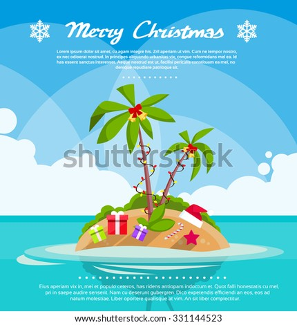 New Year Christmas Vacation Holiday Tropical Ocean Island With Palm Tree Flat Vector Illustration - stock vector