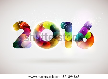 New year 2016. Colorful design. - stock vector