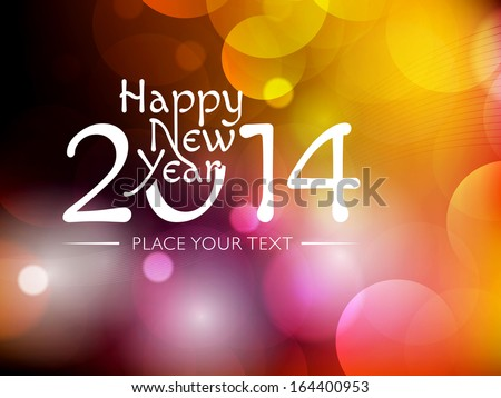 New Year 2014 colourful Background with elemental vector Drawing perfect for New year Party invitation cards. - stock vector