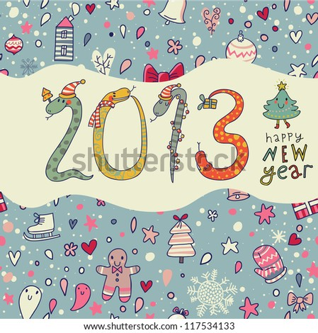 New 2013 Year concept background in cartoon style - stock vector