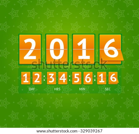 New Year Countdown on Orange Boards. Vector illustration - stock vector