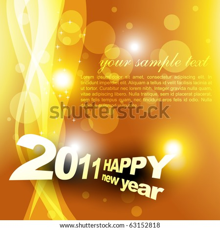 new year design on golden style background - stock vector