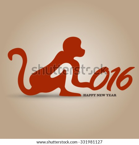 New Year Design Year of the Monkey Background - stock vector