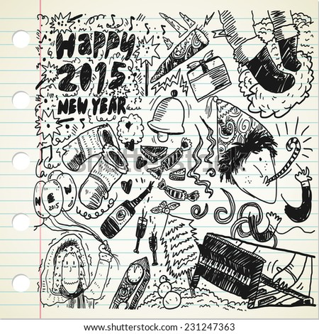 new year doodle - stock vector