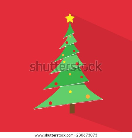 new year green Christmas tree over red background flat icon design vector illustration - stock vector