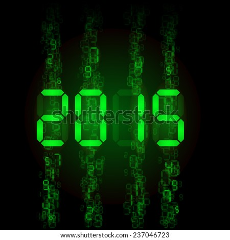 New Year 2015: green digital numerals on black. - stock vector
