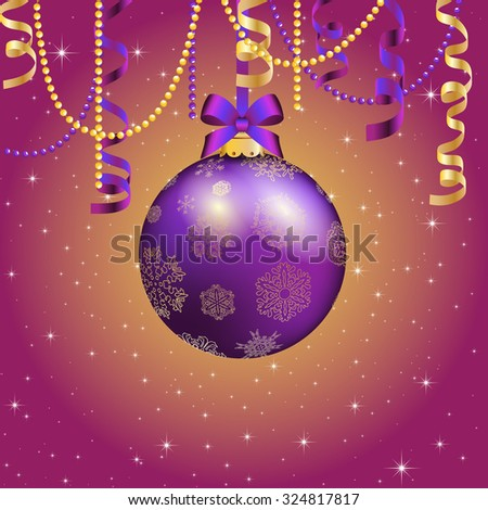New Year greeting card. Christmas Ball with bow and ribbon. Xmas Decorations. Sparkles and bokeh. Shiny and glowing - stock vector