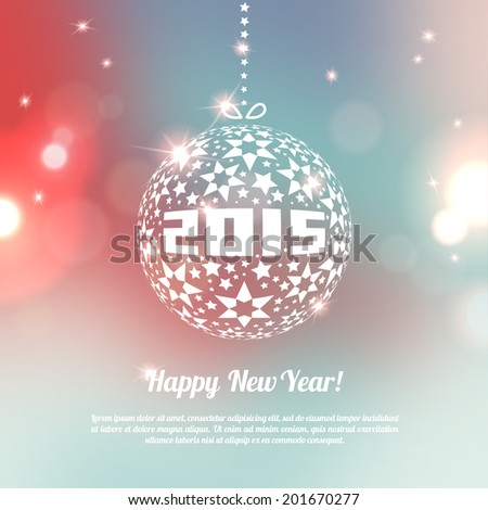 New Year 2015 Greeting Card in minimalistic style. Colorful bokeh abstract background with circles of light. Invitation with place for your text message. Vector illustration. - stock vector