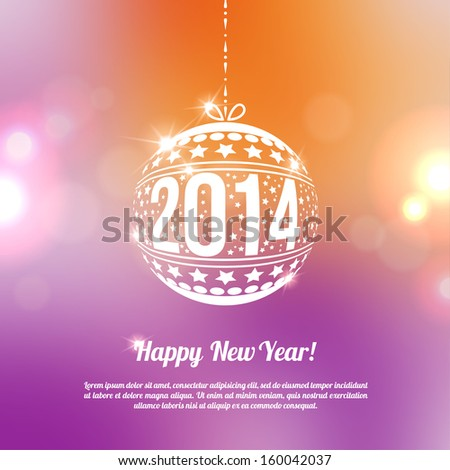 New Year 2014 Greeting Card in minimalistic style. Vector illustration. Bokeh light vintage background. Invitation with place for your text message. Orange and violet colors. - stock vector