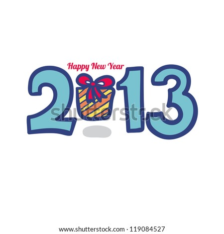 New 2013 year greeting card made in origami style, vector illustration, lucky 2013, happy new year. Happy new year 2013. With Gift. - stock vector