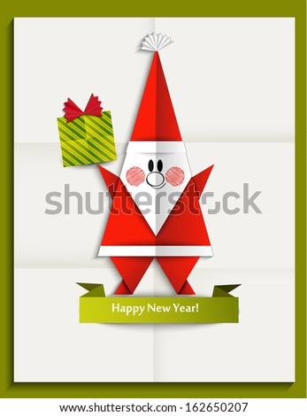 New  year greeting card with Santa Claus made in origami style, vector illustration - stock vector