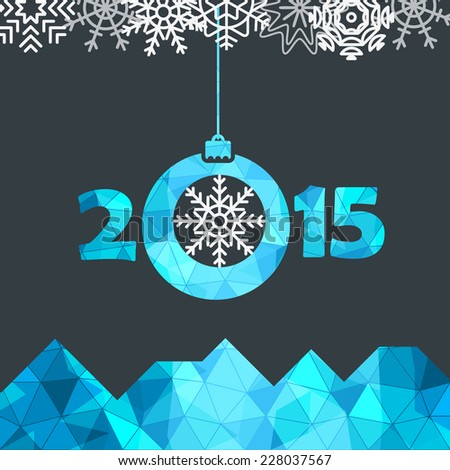 New Year greeting card with snowflakes - stock vector