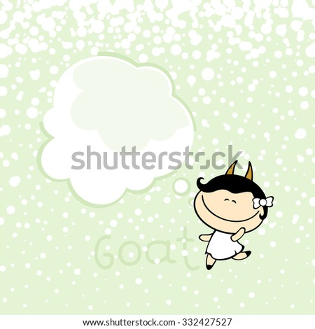 New year greeting card with the Goat and thought bubble window for your text - stock vector