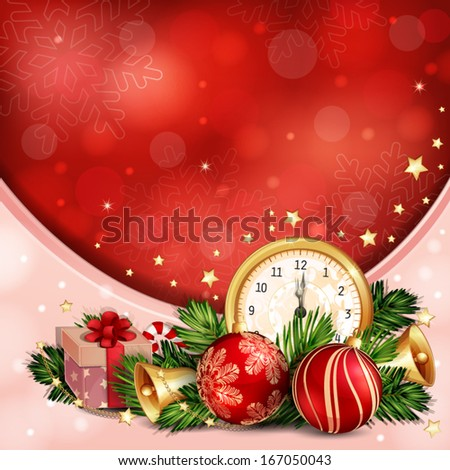 New year illustration with midnight clock and Christmas decoration - stock vector