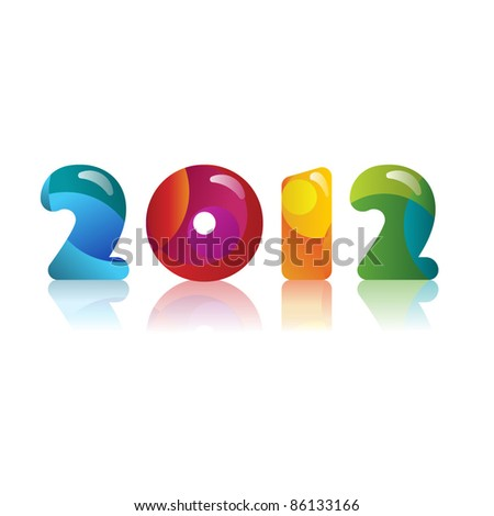 new year 2012 in plastic on white with reflection - stock vector