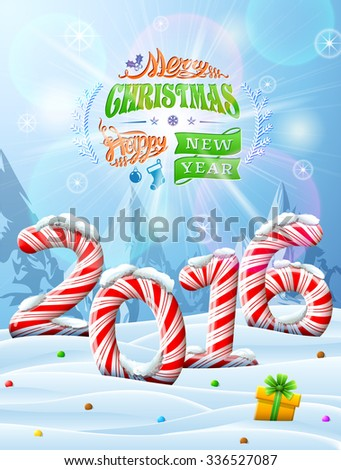New Year 2016 in shape of candy stick in snow. Winter landscape with candies, gift box, congratulation. Vector image for new year's day, christmas, sweet-stuff, winter holiday, food, silvester, etc - stock vector