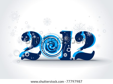 new year 2012 in white snow background. Vector illustration - stock vector
