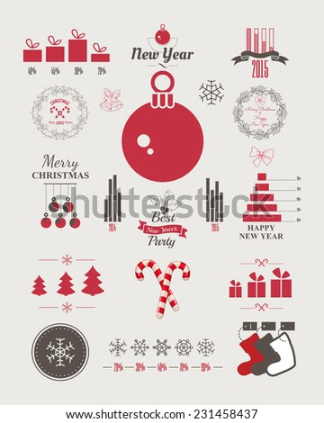 New Year infographics. Christmas statistics. Set of christmas ornaments and decorative elements, vintage banner, ribbon, labels, frames, badge, stickers. Vector Christmas element. - stock vector
