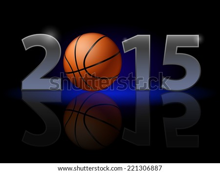 New Year 2015: metal numerals with basketball instead of zero having weak reflection. Illustration on black background. - stock vector