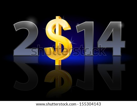 New Year 2014: metal numerals with USA dollar instead of zero having weak reflection. Illustration on black background. - stock vector
