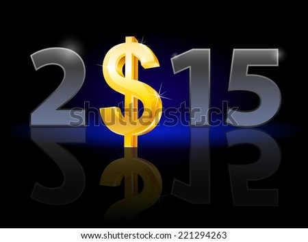 New Year 2015: metal numerals with USA dollar instead of zero having weak reflection. Illustration on black background. - stock vector