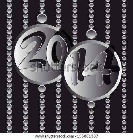new year 2014 metallic circle - stock vector