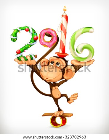 New Year, monkey vector icon - stock vector