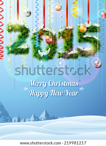 New Year 2015 of twigs like christmas decoration. Winter landscape with christmas congratulation. Qualitative illustration for new year's day, christmas, winter holiday, new year's eve, silvester, etc - stock vector