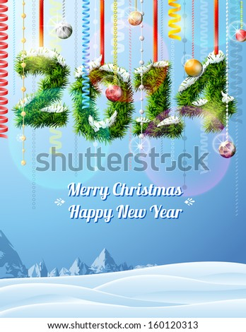 New Year 2014 of twigs like Christmas decoration. Winter landscape with new year congratulation. Vector illustration for new year's day, Christmas, winter holiday, new year's eve - stock vector