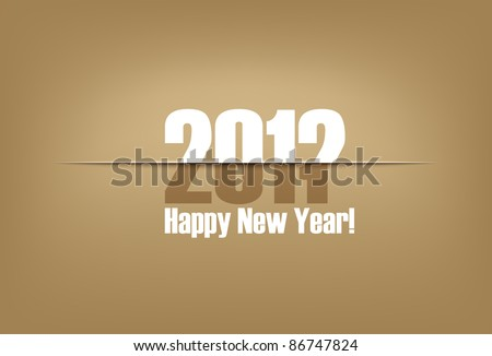 New Year paper cut greeting card | changing years cardboard - stock vector
